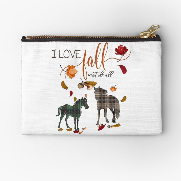 Horse Lovers - I Love Fall Most of All  Zipper Pouch