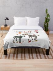 Horse Lovers - I Love Fall Most of All  Throw Blanket