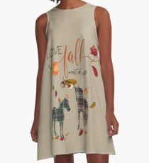 Horse Lovers - I Love Fall Most of All  A-Line Dress