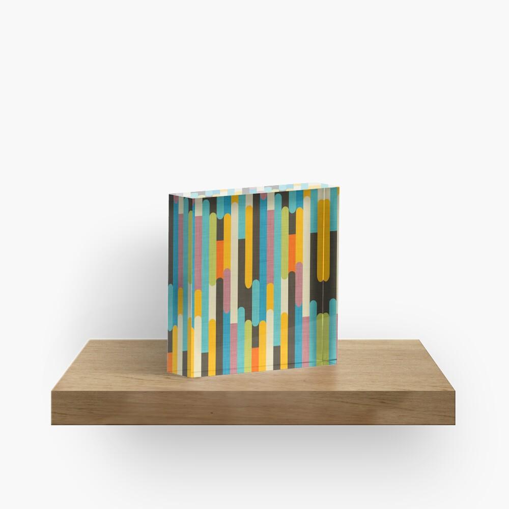 Retro Color Block Popsicle Sticks Blue Acrylic Block
