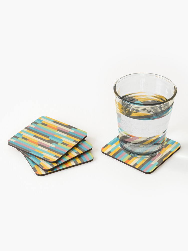 Alternate view of Retro Color Block Popsicle Sticks Blue Coasters (Set of 4)