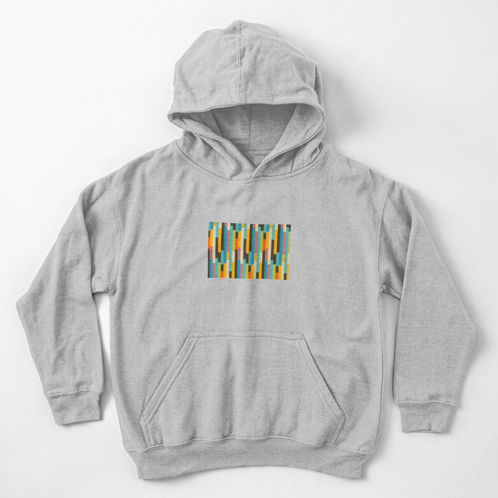 Retro Color Block Popsicle Sticks Blue Kids Pullover Hoodie