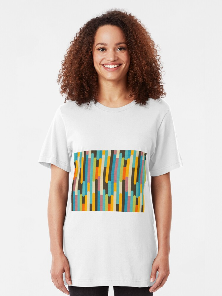 Alternate view of Retro Color Block Popsicle Sticks Blue Slim Fit T-Shirt
