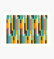 Retro Color Block Popsicle Sticks Blue Art Print