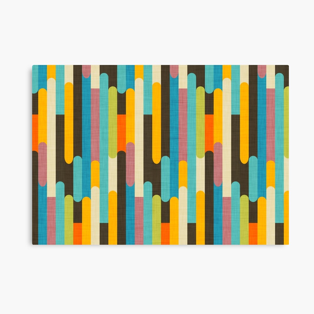 Retro Color Block Popsicle Sticks Blue Canvas Print