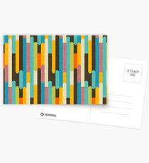 Retro Color Block Popsicle Sticks Blue Postcards