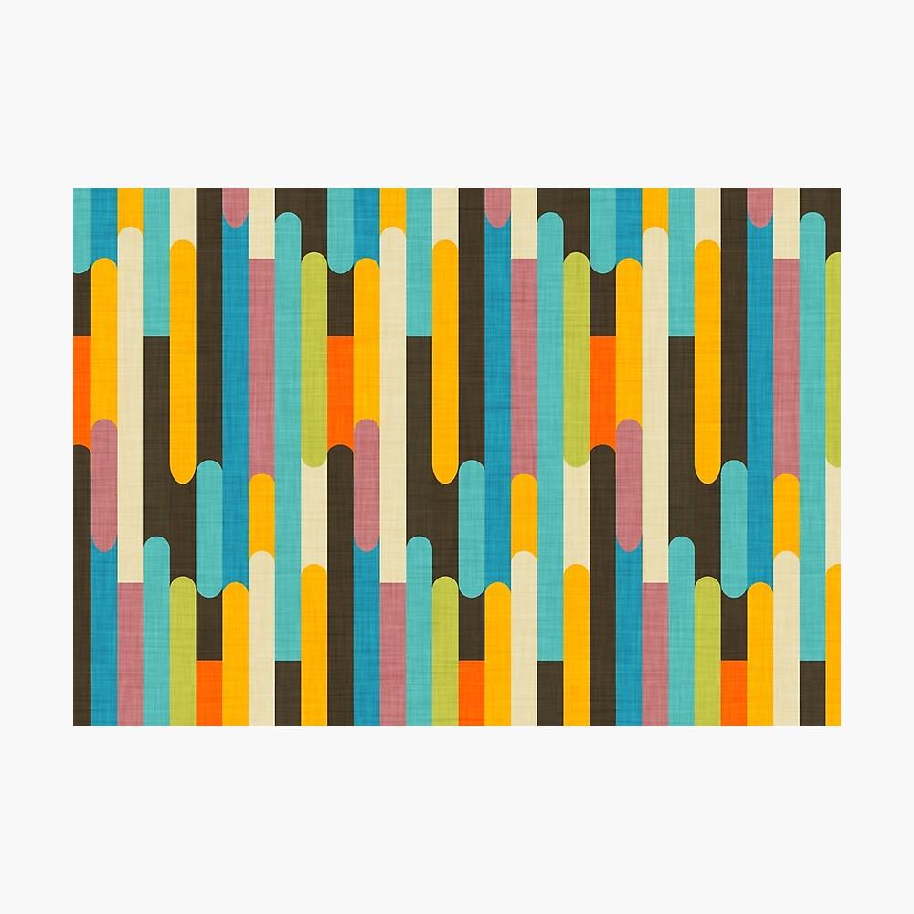 Retro Color Block Popsicle Sticks Blue Photographic Print