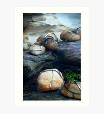 Chrome wrapped rocks Art Print