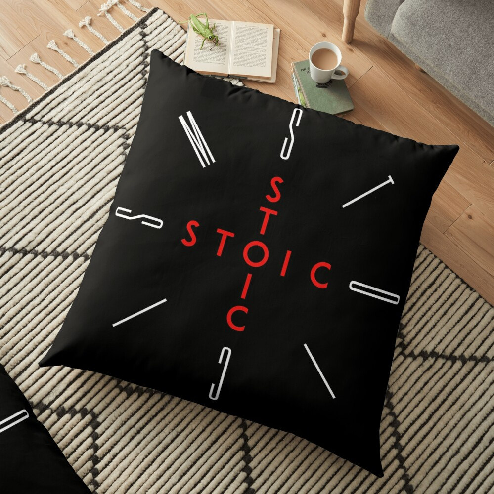 Stoic Word Cross - Stoic and Stoicism Text in a Cross Circle Floor Pillow