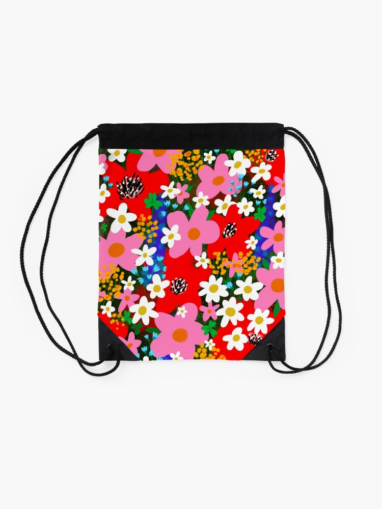 Alternate view of Flower Power! Drawstring Bag