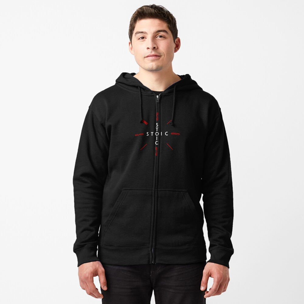 Stoic Word Cross - Stoic and Stoicism Text in a Cross Circle v2 Zipped Hoodie