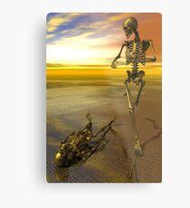Running Skeleton Metal Print