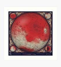 A Topographic Map of Mars Art Print