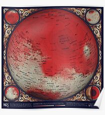 A Topographic Map of Mars Poster