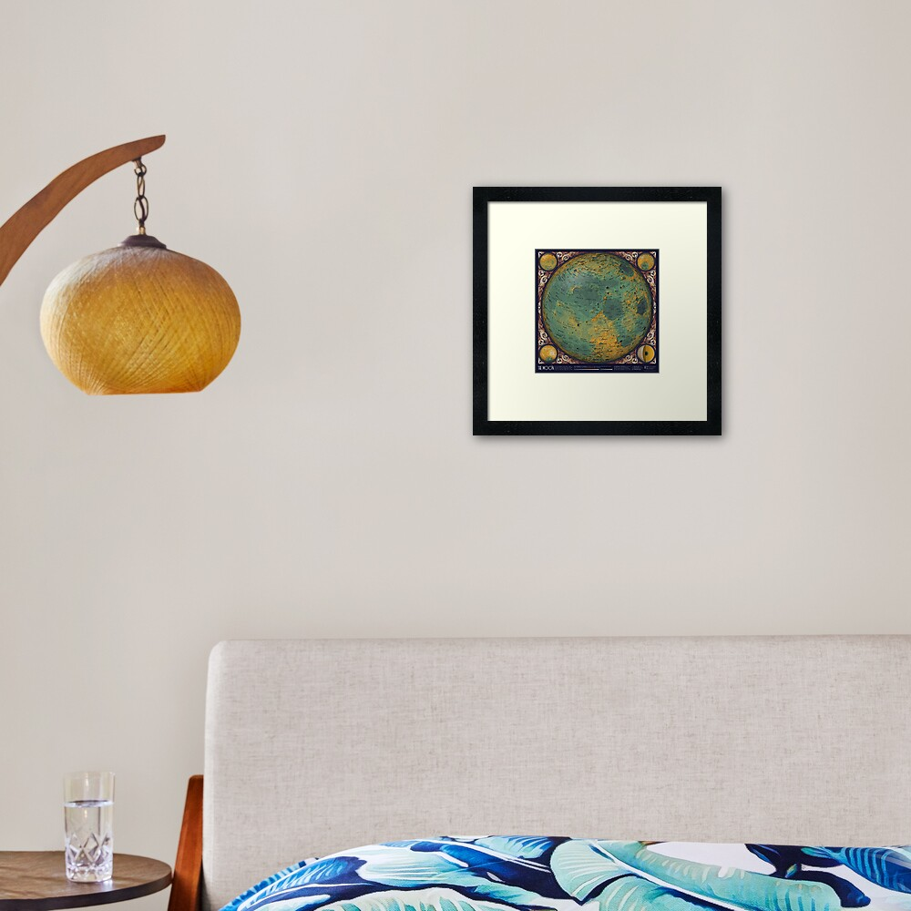 A Topographic Map of the Moon Framed Art Print