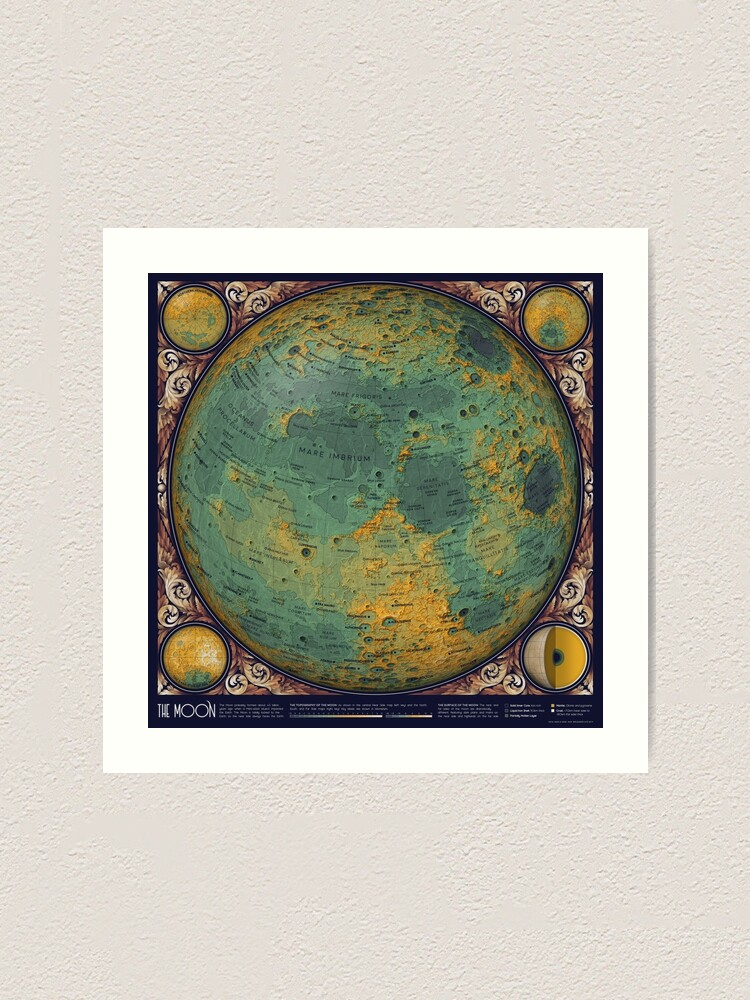 Alternate view of A Topographic Map of the Moon Art Print