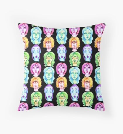 Rainbow of Beautiful Monsters Throw Pillow