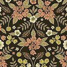 Sage, Dark Green, Peach & Cream Floral Pattern by somecallmebeth