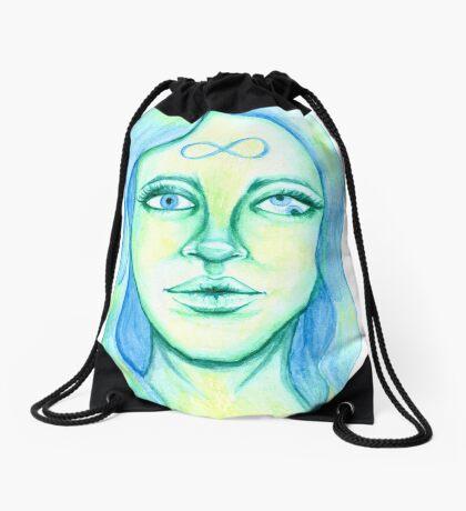 Blue Hair, Green Skin Drawstring Bag