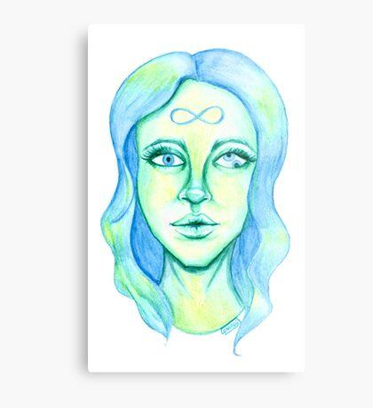 Blue Hair, Green Skin Metal Print