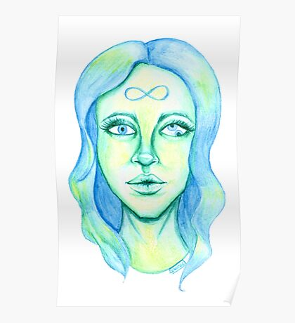 Blue Hair, Green Skin Poster