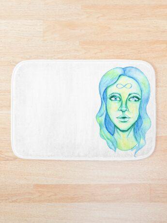 Blue Hair, Green Skin Bath Mat