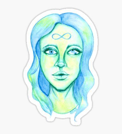 Blue Hair, Green Skin Glossy Sticker