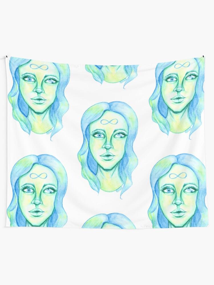 Alternate view of Blue Hair, Green Skin Tapestry
