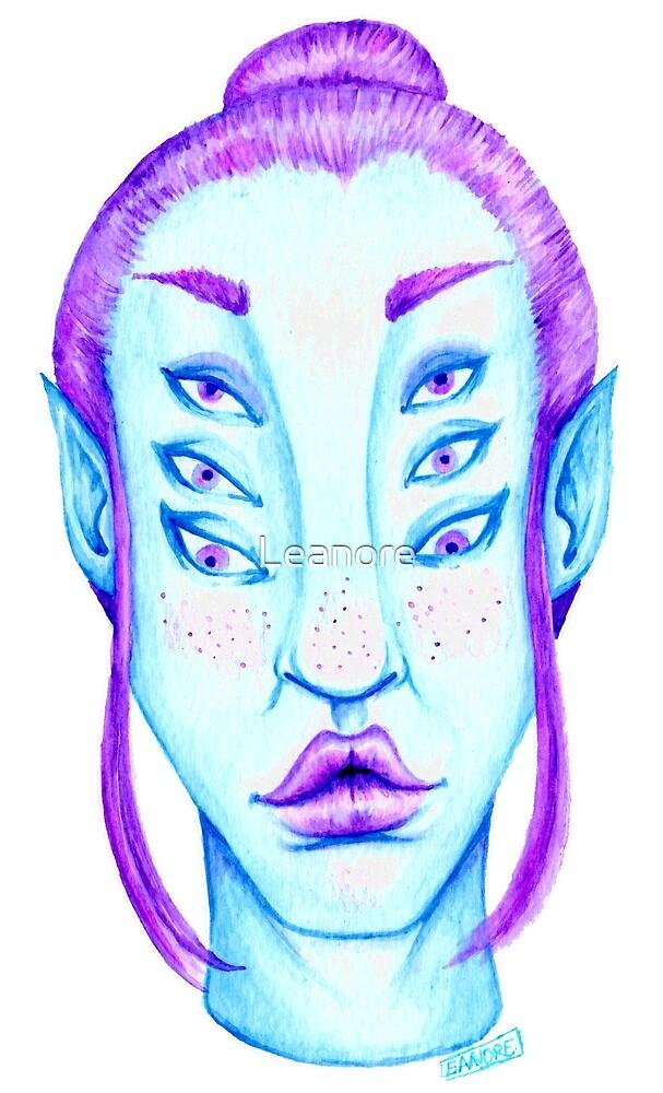 Purple Hair, Blue Skin by Leanore