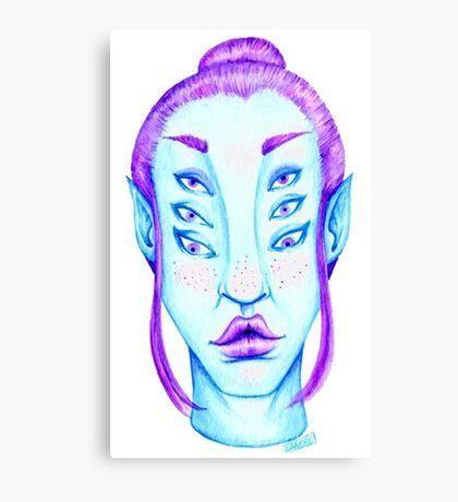 Purple Hair, Blue Skin Canvas Print