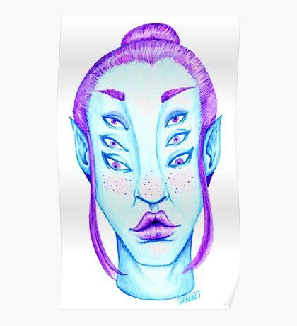 Purple Hair, Blue Skin Poster