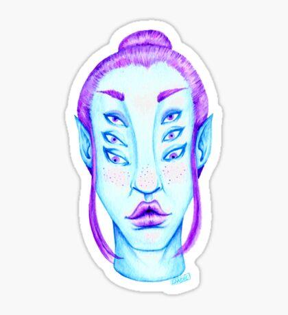 Purple Hair, Blue Skin Glossy Sticker