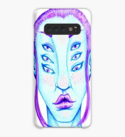 Purple Hair, Blue Skin Case/Skin for Samsung Galaxy