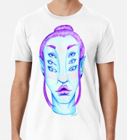 Purple Hair, Blue Skin Premium T-Shirt