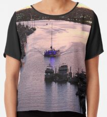 #Water, #Harbor, #River, #Ship, sunset, travel, pier, reflection, outdoors Chiffon Top