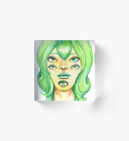 Green Hair, Golden Skin Acrylic Block
