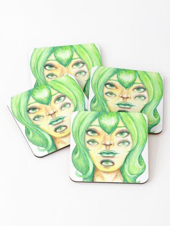 Green Hair, Golden Skin Coasters