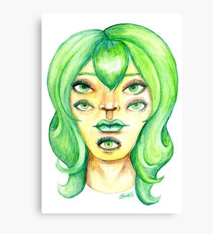 Green Hair, Golden Skin Canvas Print