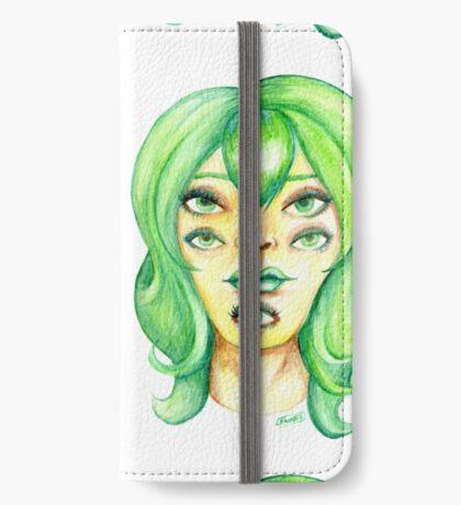 Green Hair, Golden Skin iPhone Wallet