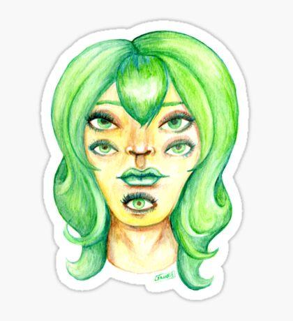 Green Hair, Golden Skin Glossy Sticker
