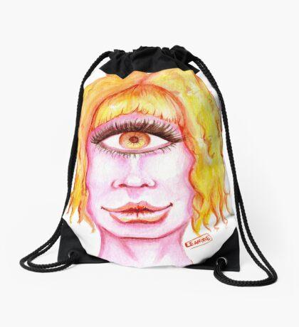 Golden Hair, Pink Skin Drawstring Bag