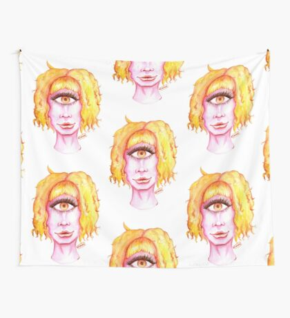 Golden Hair, Pink Skin Wall Tapestry