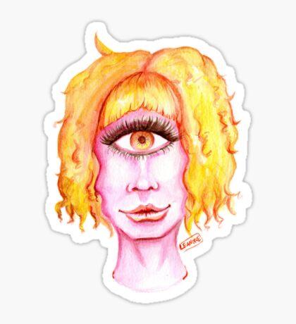 Golden Hair, Pink Skin Glossy Sticker