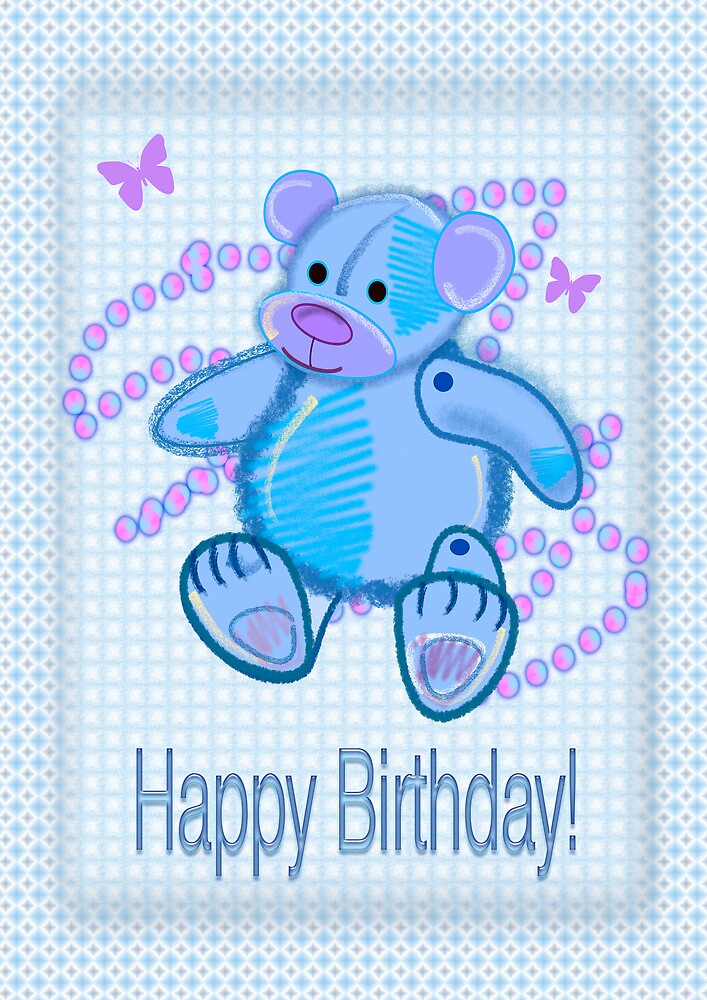 Blue Baby Bear Happy Birthday card by walstraasart