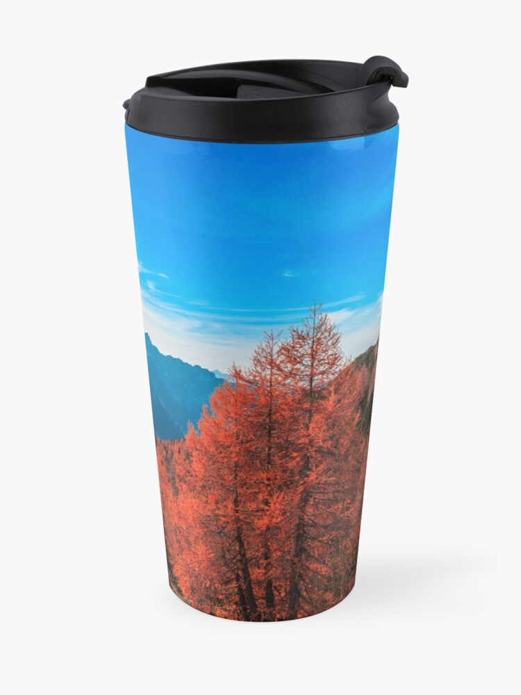 Alternate view of Cloudy autumn day in the italian alps Travel Mug