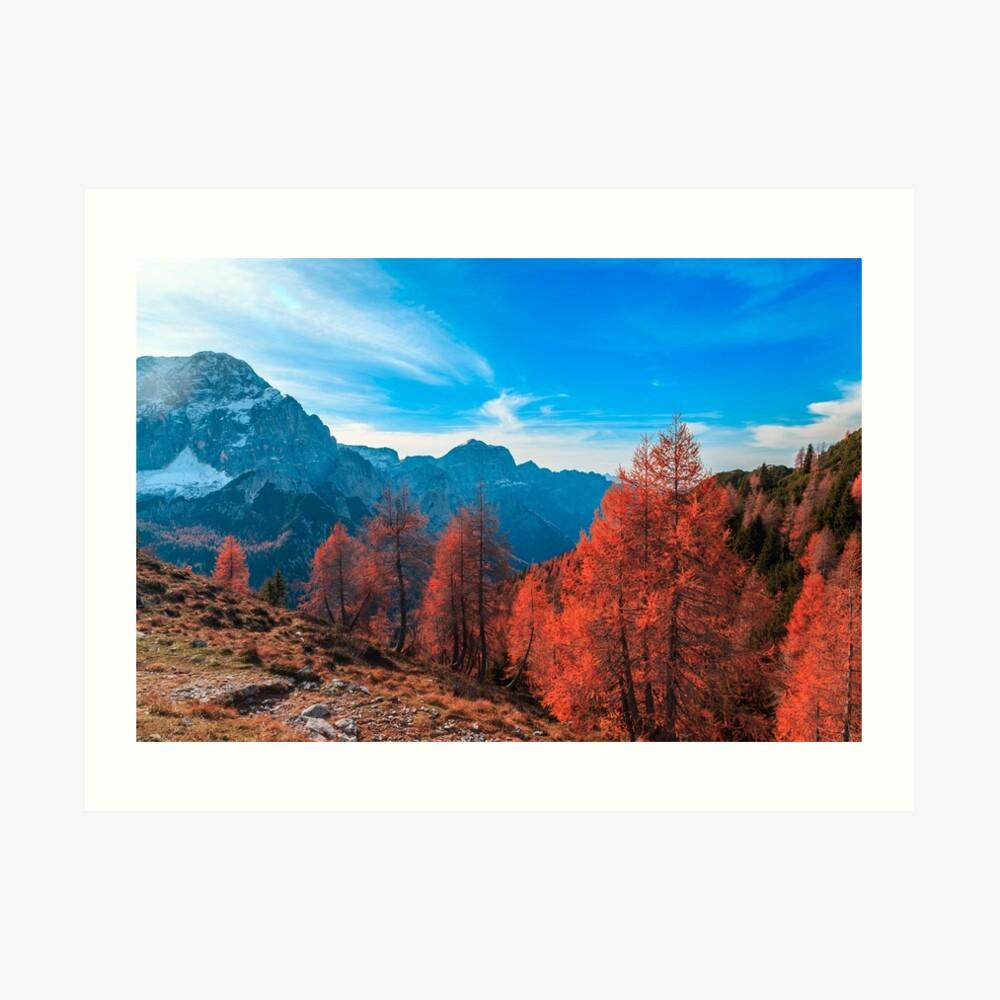 Cloudy autumn day in the italian alps Art Print