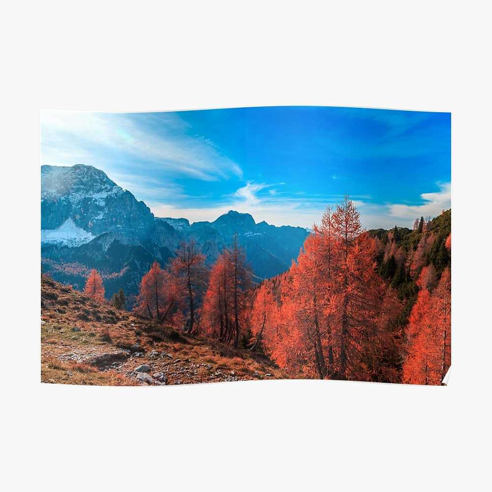 Cloudy autumn day in the italian alps Poster