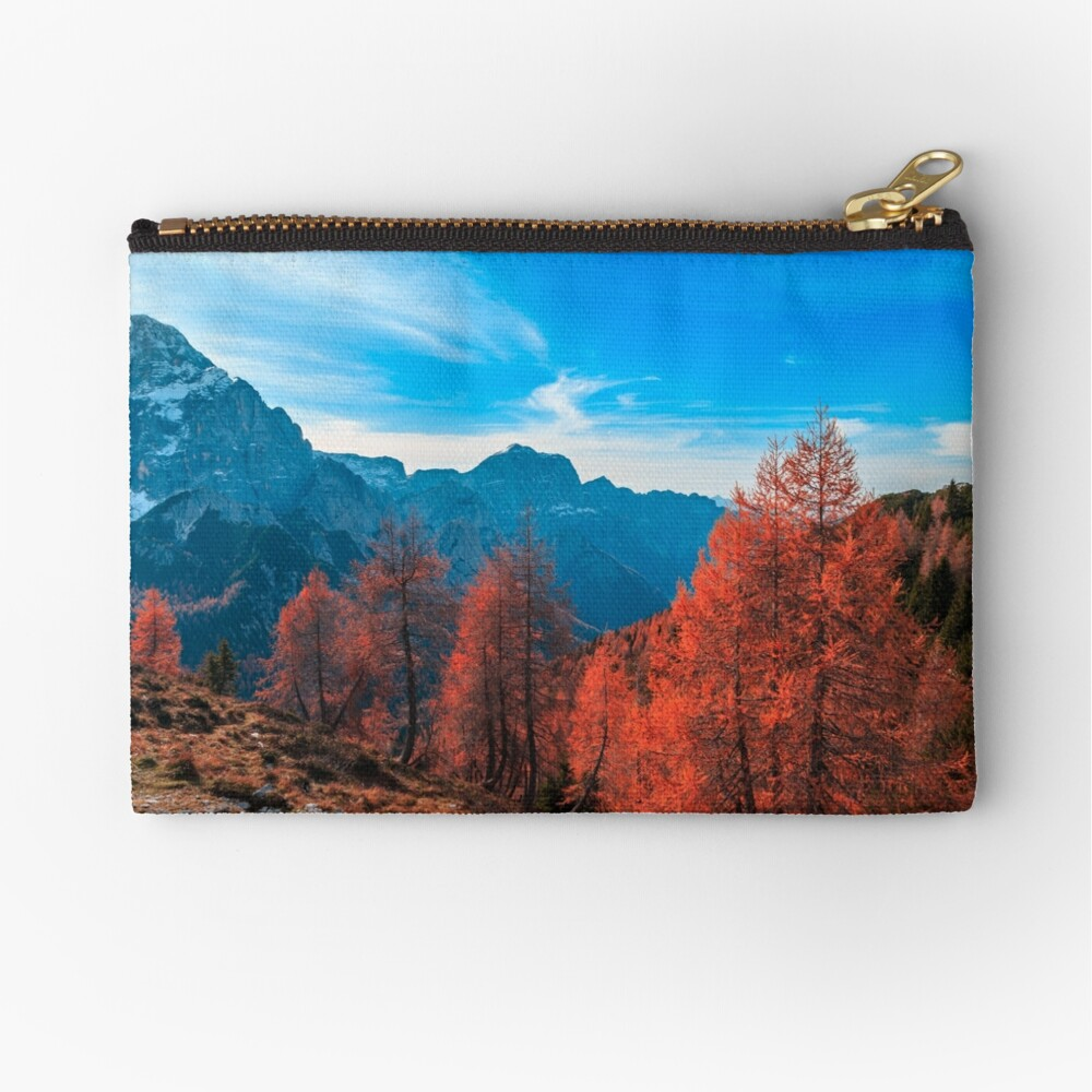 Cloudy autumn day in the italian alps Zipper Pouch