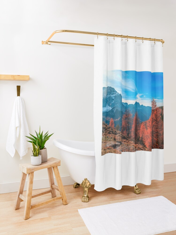 Alternate view of Cloudy autumn day in the italian alps Shower Curtain