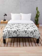 Butterflies Black and White Throw Blanket